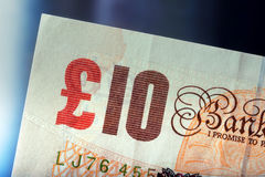 Pound currency, money, banknote.  English currency. UK banknotes of different values stacked on each other Stock Photos