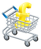 Pound currency shopping cart Stock Photos