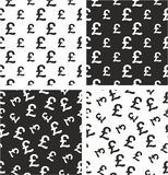 Pound Currency Sign Big & Small Aligned & Random Seamless Pattern Set Stock Image