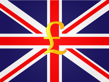 Pound Currency Sign on the center of the United Kingdom Flag Stock Photo