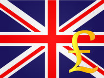Pound Currency Sign over the United Kingdom Flag Royalty Free Stock Image