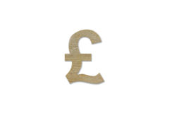 Pound currency symbol made from wood isolated on white background. With clipping path stock photos