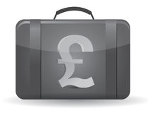Pound currency symbol suitcase illustration Stock Photography