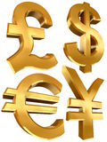 Pound dollar euro and yen golden symbols. In white background Stock Images