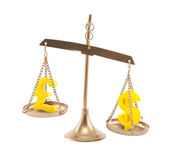 Pound and Dollar signs on scales Royalty Free Stock Photo