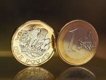 1 pound and 1 euro coin over metal background Royalty Free Stock Photography