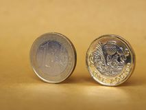 1 pound and 1 euro coin over paper background Stock Images