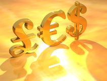 Pound euro dollar. On gold background royalty free stock photos