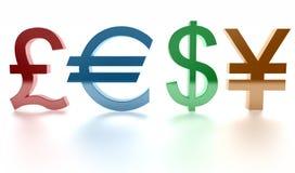 Pound, Euro, Dollar, Yen. Zeichen. 3d Lizenzfreies Stockfoto