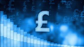 Pound falling, descending graph background, world crisis, stock market crash. Stock footage Stock Photography