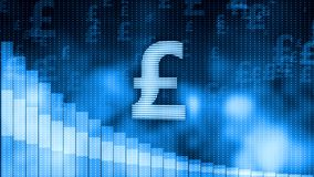 Pound falling, descending graph background, world crisis, stock market crash Stock Images