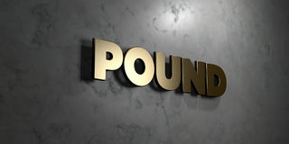 Pound - Gold sign mounted on glossy marble wall  - 3D rendered royalty free stock illustration Stock Photography