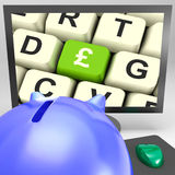 Pound Key On Monitor Showing Britain Prosperity Stock Image