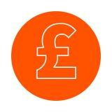 Pound or lyre symbol,  monochrome round icon, flat style Royalty Free Stock Image