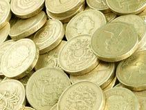 Pound-Münzen stockbilder