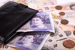 Pound money and black wallet Royalty Free Stock Image