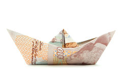 Pound money paper boat Royalty Free Stock Photo