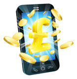 Pound money phone concept. Illustration of mobile cell phone with gold Pound sign and coins Royalty Free Stock Images