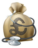 Pound Money Sack and Stethoscope. Money sack with a stethoscope wrapped around. Concept for any medical or finance theme like health insurance, financial health Royalty Free Stock Photography