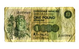 Pound note. An old one pound note Royalty Free Stock Photos