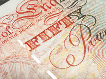 Pound note fifty. Detail of English fifty pound note Stock Photo