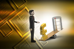 Pound and oil can balancing Stock Photo