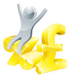 Pound percentage rate silver man. Illustration of pound sign and percentage sign with happy person sitting on it, found the best interest rate, a sale or similar Stock Photos