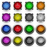 Pound piggy bank button set. Set of Pound piggy bank glossy web buttons. Arranged layer structure Royalty Free Stock Image