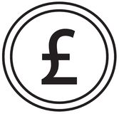 Pound or Pound Sterling currency icon or logo  over a coin. Royalty Free Stock Images