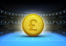 Pound prize money placed on a blue tennis court Stock Photography