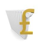 Pound and radiator. Pound symbol and a radiator Royalty Free Stock Image