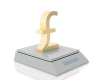Pound's weigh. Golden pound symbol measured its weigh on digital scale stock illustration