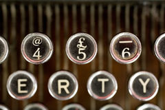 Pound Sign. Keys on a very old typewriter - 1900s to 1920. Highlighting the pound sign and number 5 stock image