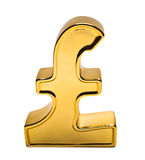 Pound Sign. Golden Pound Sign isolated on white stock image