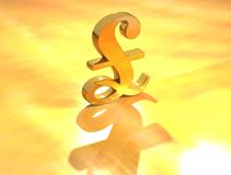 Pound sign. Gold Pound sign on gold background royalty free stock photos
