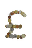 Pound sign. Pound sterling sign, laid out with small coins of different countries, mostly obsolete Royalty Free Stock Photography