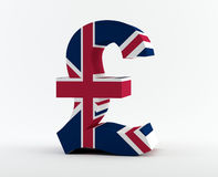 Pound sign. With the UK flag royalty free stock image