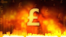 Pound sign against fiery background, money rules the world, greed, obsession. Stock footage stock photo