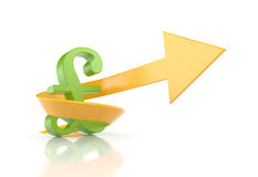 Pound sign with arrow. Symbolize growth Stock Photos