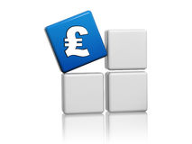 Pound sign in blue cube on grey boxes Stock Photography