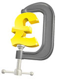 Pound sign in clamp concept. Conceptual illustration of a pound sign in a C or G clamp Stock Photography