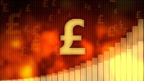 Pound sign, currency growth graph on red background, financial crisis averted. Stock footage Royalty Free Stock Image