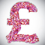 Pound sign with floral patterns. Royalty Free Stock Images