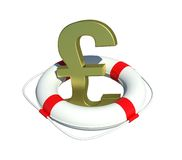 Pound sign in lifebuoy Royalty Free Stock Photo