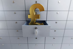 Pound sign opened empty bank deposit cell Stock Images