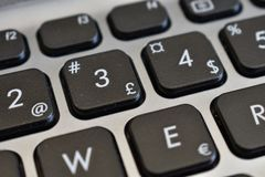 Pound sign and other symbols, letters, and numbers. On a black keyboard of a gray laptop royalty free stock photo