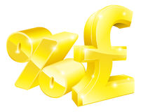 Pound sign percentage rate concept. Pound percentage rate signs, conceptual illustration of a pound sign and a percent sign. Concept for exchange rates, best Royalty Free Stock Images