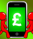 Pound Sign On Phone Displays British Money Gbp Royalty Free Stock Photo