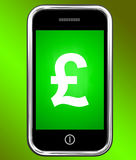 Pound Sign On Phone Shows British Money Gbp Royalty Free Stock Photography