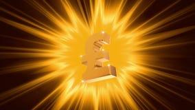 Pound sign on radiant light background, success, large income, jackpot winner